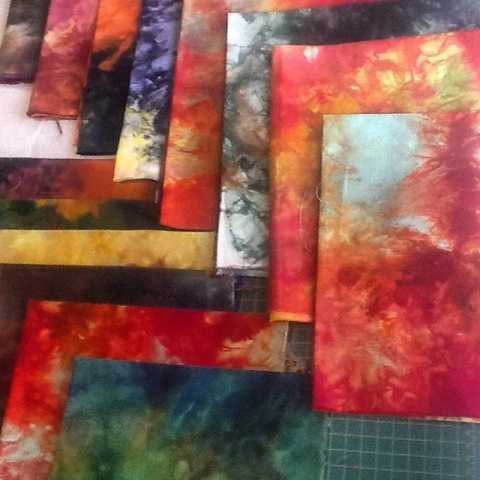 A few of my ice dyed fabrics.