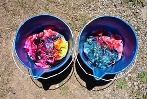 "More ""buckets"" of ice dyed fabric"
