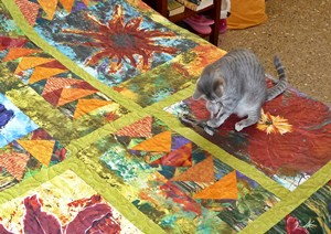 Ruby inspects the Flower Power quilt