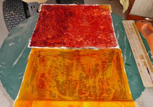 Dyed fabric left to dry overnight