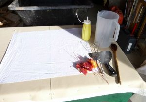 Prepared dying table and tools