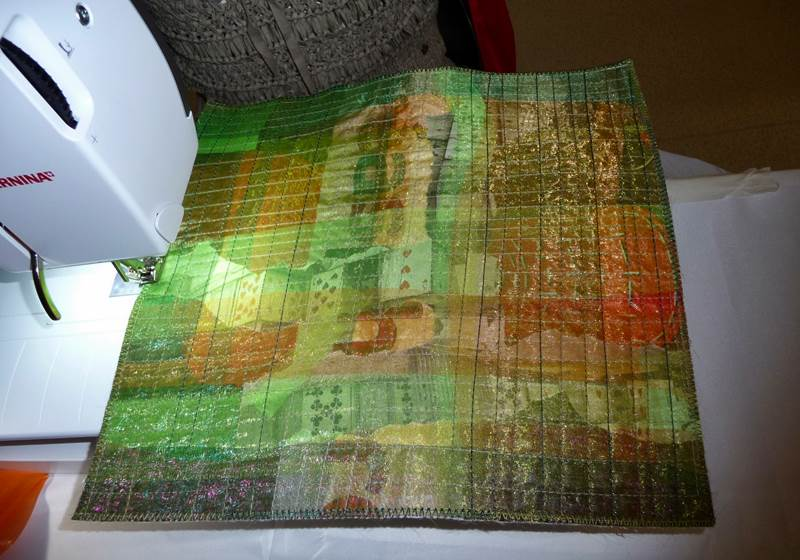 Sewing grid pattern to hold the layers together