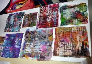 Completed quilt pieces from the class