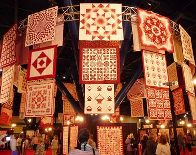"""Houston """"chandelier"""" of quilts"""