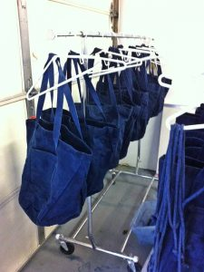 Indigo dyed shopping bags