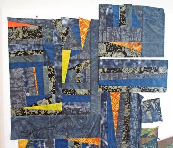 Turtle Hand batik quilt on the design wall