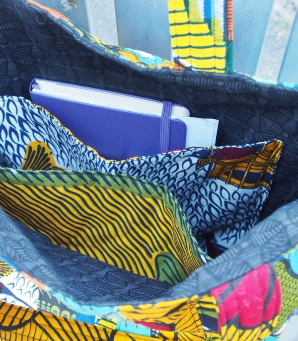 The African tote bag pattern has 2 large pockets