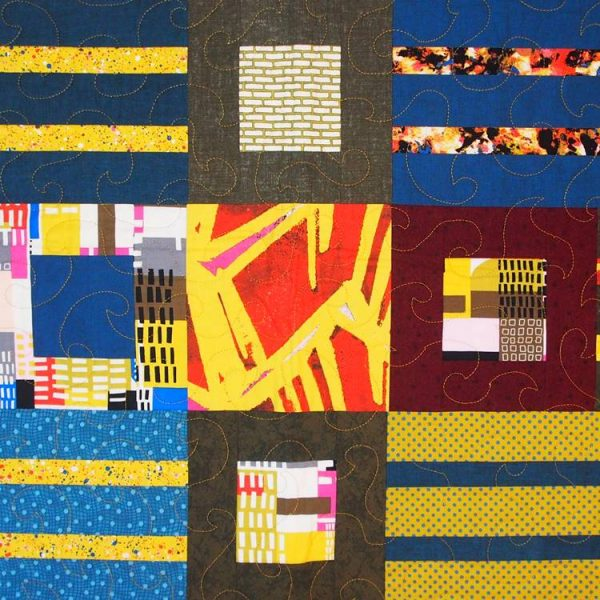 Closeup view of Metro quilt pattern block layout
