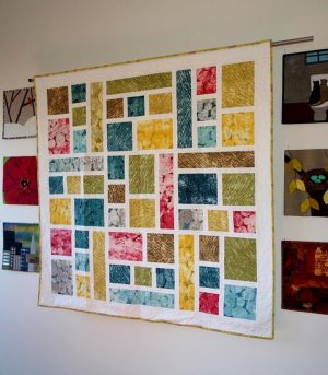 Stained Glass quilt on the design wall