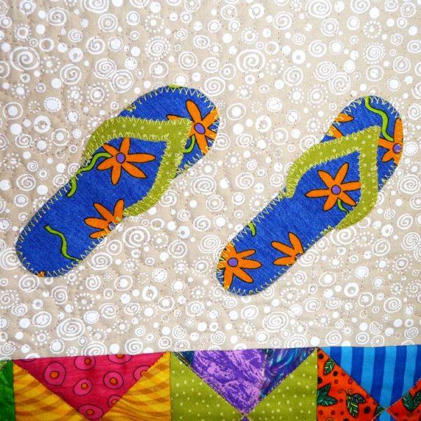 Creative stitching around each of the sandals