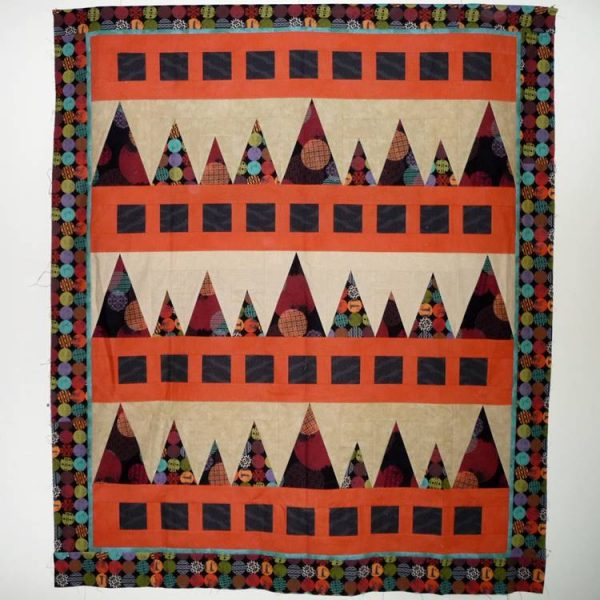 Completed Sawtooth Mountains quilt top is now ready for quilting