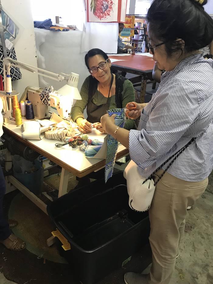 Amelia and Siska sewing