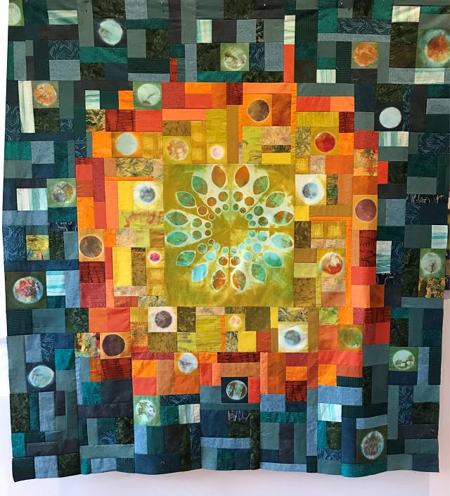 Quilt design using hand-dyed circles