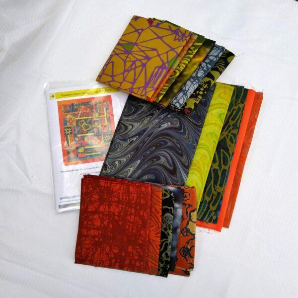 Random Heart quilt kit fabrics