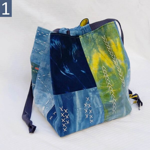 Rice bag #1 in hand-dyed indigo