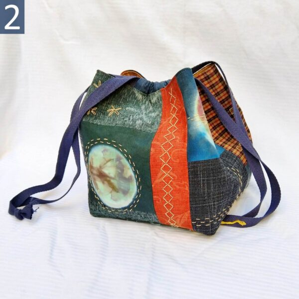 Rice bag #2 in hand-dyed radiant circles and recycled Japanese kimono