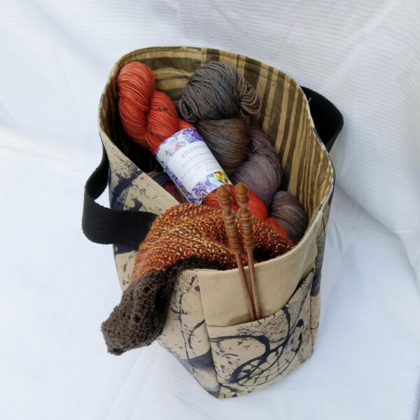 Handmade canvas knitting bag